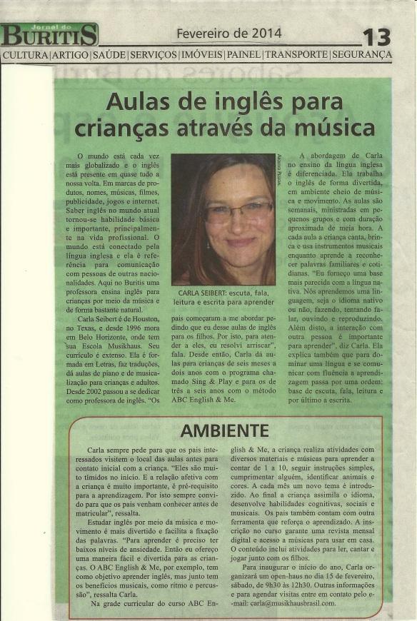 Jornal Buritis Inglês música
